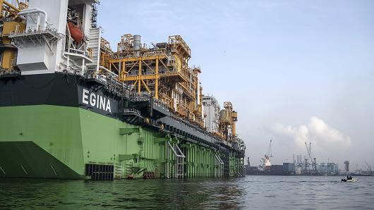 The Egina floating production storage and offloading vessel, the largest of its kind in Nigeria, is berthed in Lagos harbor on February 23, 2017.Stefan Heunis   AFP   Getty Images