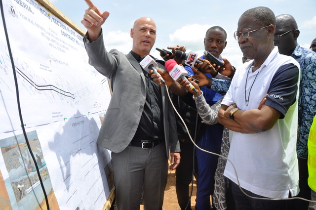 L-R; Minister of Information, Alhaji Lai Mohammed, being briefed by the Project Manager of Reynolds Construction Company, Mr. Harel Vaknin, during the inspection of ongoing work on Oyo-Ogbomoso Road on Tuesday.