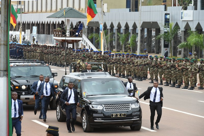 Even in Yaounde it was a heavy escort around the President