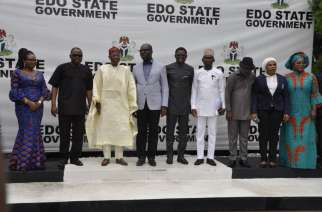 From Pix 2: Minister of Information and Culture, Alhaji Lai Mohammed (third left); Edo State Governor, Mr. Godwin Obaseki (fourth from left) and other officials of the Federal and Edo State Governments during a courtesy/promotional visit by the Minister on the forthcoming 61st UN World Tourism Organisation Commission for Africa Meeting taking place in Abuja 4-6 June 2018