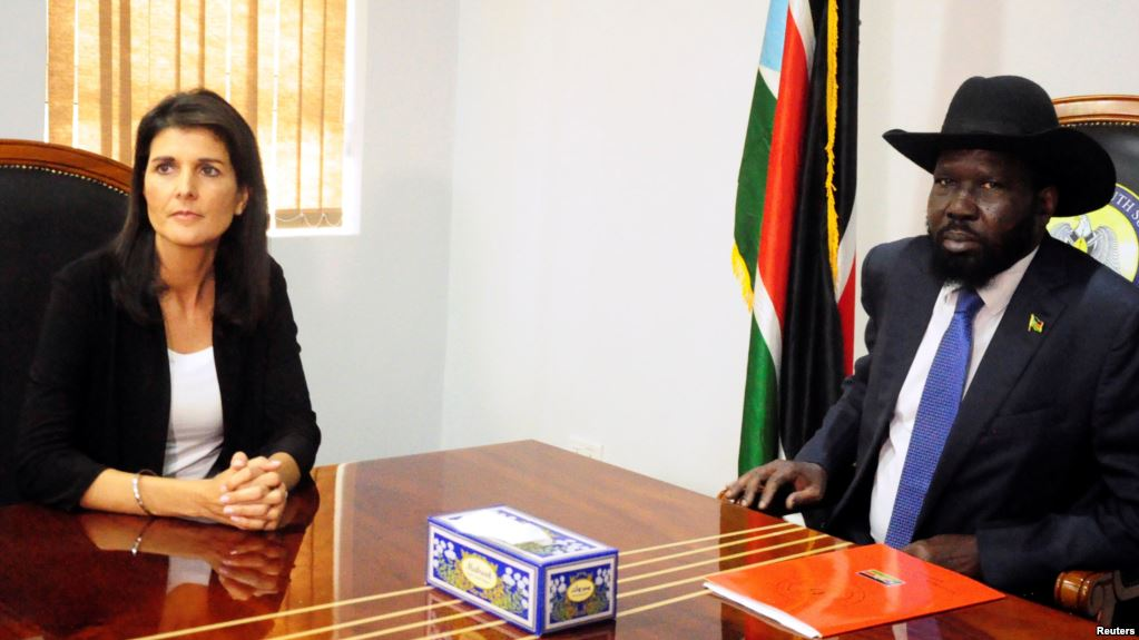 File Picture .South Sudan President Salva Kiir meets U.S. Ambassador to the United Nations Nikki Haley in Juba