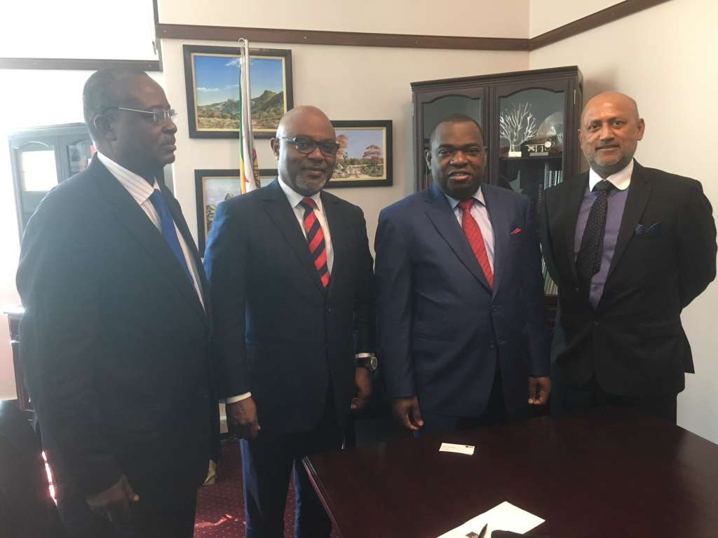 From L to R: Ini Urua, Senior Vice President Country & Investor Relations - AFC; Oliver Andrews, Chief Investment Officer - AFC; Sibusiso Moyo, Minister of Foreign Affairs _ Government of Zimbabwe - Sanjeev Gupta, Executive Director, Financial Services - AFC.