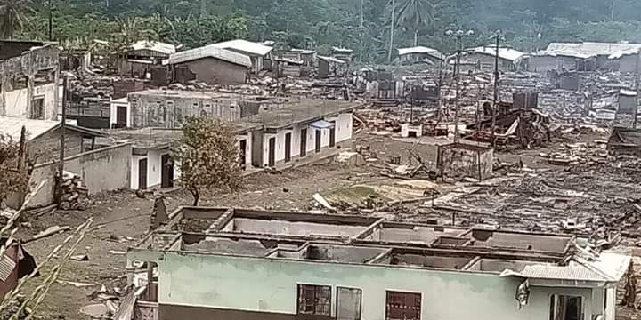 Government troops have been accused for razing down villages