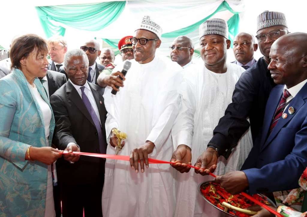 Pix 1, L – R , Secretary General of the Commonwealth, Mrs. Patricia Scotland, Former President of South Africa, Mr. Thabo Mbeki, President Muhammadu Buhari, Speaker, House of Representatives, Rt. Hon. Yakubu Dogara, Secretary to the Government of the Federation, Mr. Boss Mustapha and Acting Chairman, EFCC, Mr. Ibrahim Magu during the Official commissioning ceremony of EFCC Headquarters Office in Abuja on Tuesday 15th May, 2018.