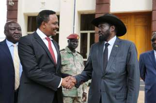 Workneh Gebeyehu, Minister for Foreign Affairs of Ethiopia and Chairperson of the IGAD Council meets Kiir in Juba. Uganda's Oryem is left. PHOTOS @mfaethiopia