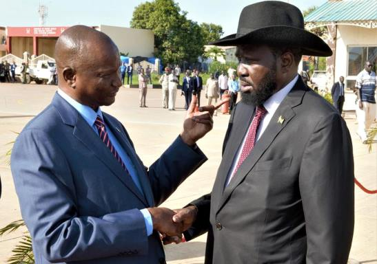 President Kiir shakes hands with FVP Taban Deng before leaving for Ethiopia, May 30, 2018| photo | Presidential press unit