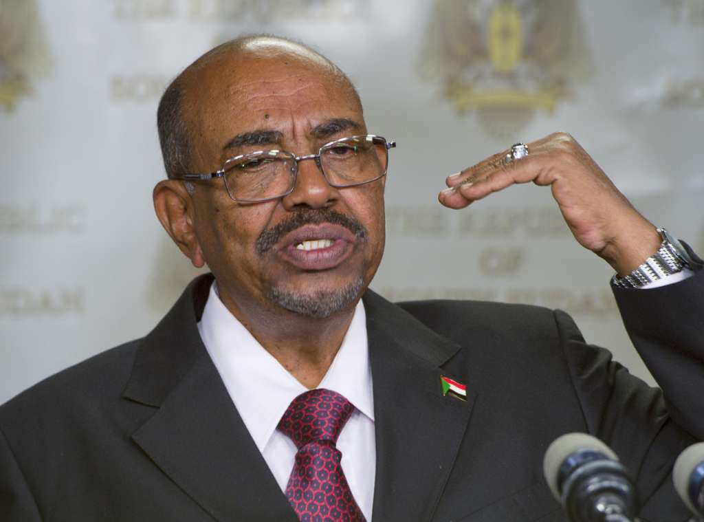 FILE - In this Jan. 6, 2014 file photo, Sudanese President Omar al-Bashir speaks after meeting with South Sudan's President Salva Kiir, in the capital Juba, South Sudan. (AP Photo/Ali Ngethi, File)
