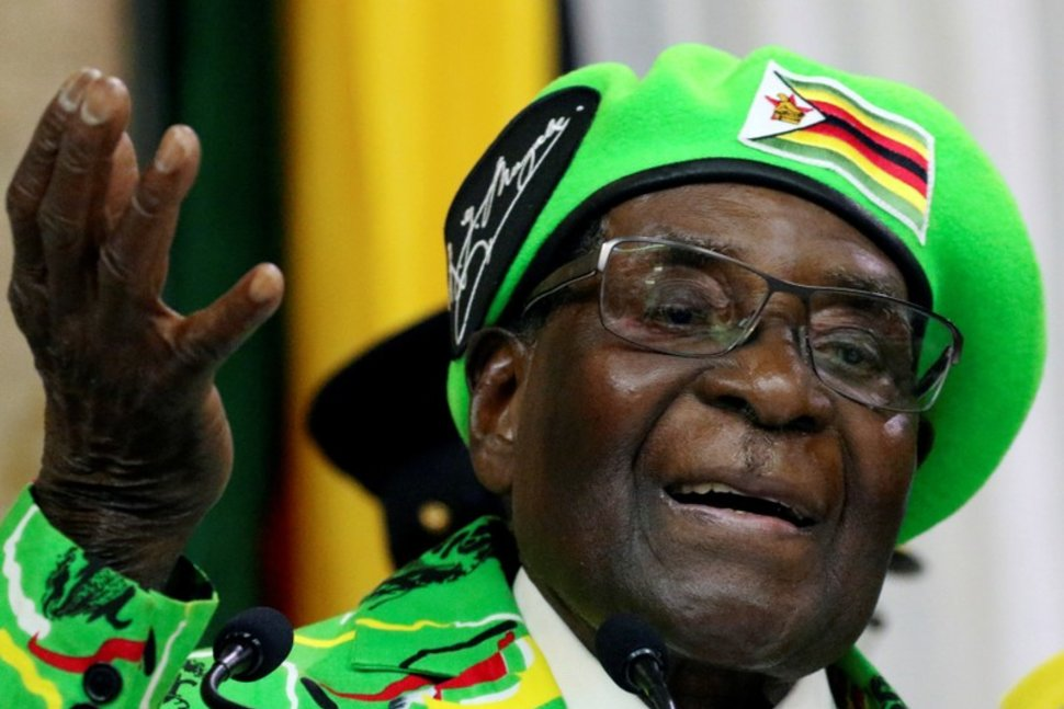 FILE PHOTO: Former Zimbabwean President Robert Mugabe addressed a meeting of his party's youth league in Harare, Zimbabwe, October 7, 2017. REUTERS/Philimon Bulawayo/File PhotoREUTERS