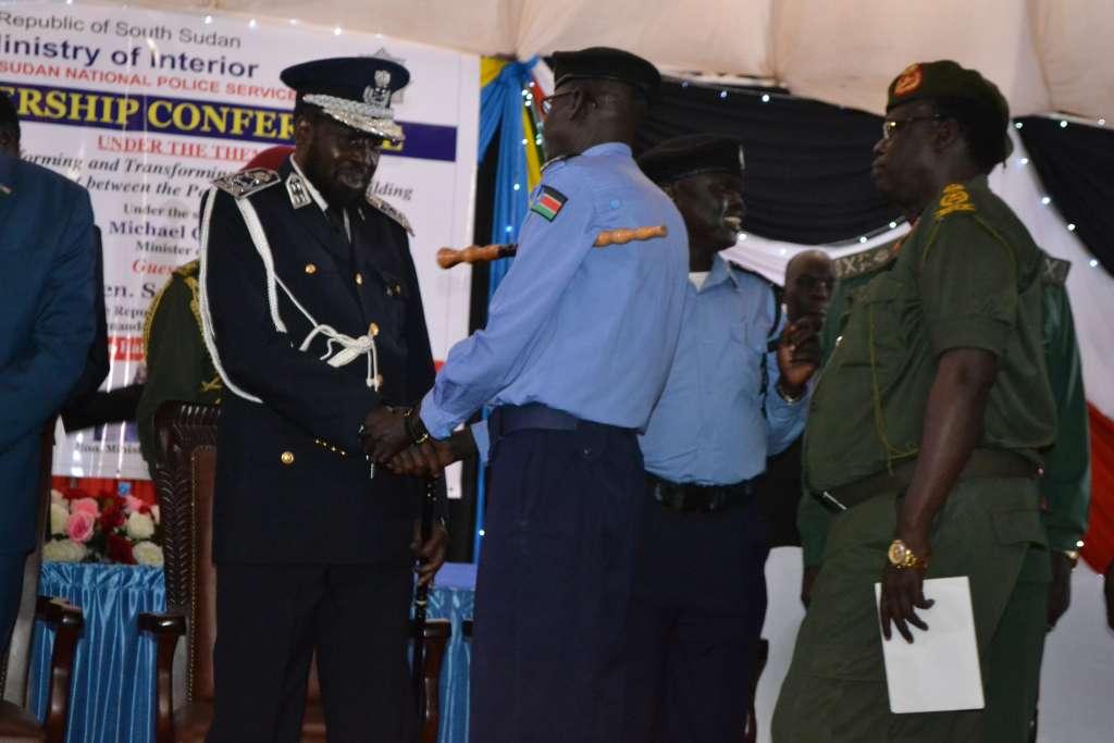 President Salva Kiir's greeting the senior police's officers