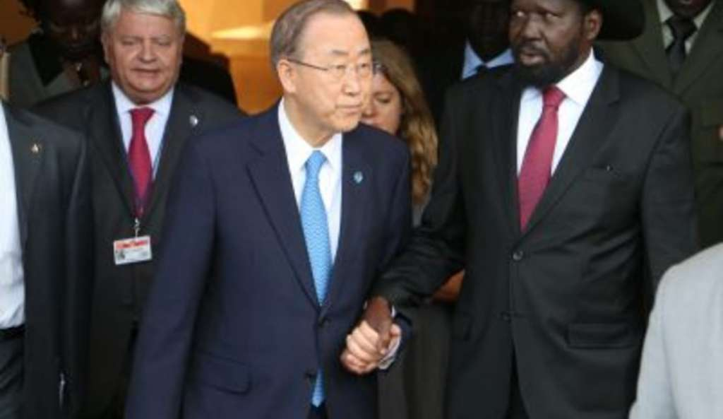File pic:UN Secretary-General Ban Ki-moon meets President Salva Kiir in Juba