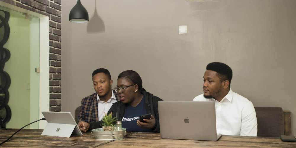 Somto Ifezue, Odunayo Eweniyi and Joshua Chibueze [l-r] PiggybankNG Co-founders