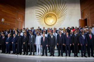Heads of state pose for a group photograph during the opening ceremony of the African Union summit in Addis Ababa, Ethiopia, Sunday, Jan. 28, 2018. The leaders of the United Nations and the African Union urged stronger international cooperation Sunday of the African Union nations. (AP Photo/Mulugeta Ayene)