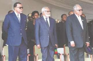 President Hage Geingob, founding President Sam Nujoma and former President Hifikepunye Pohamba.