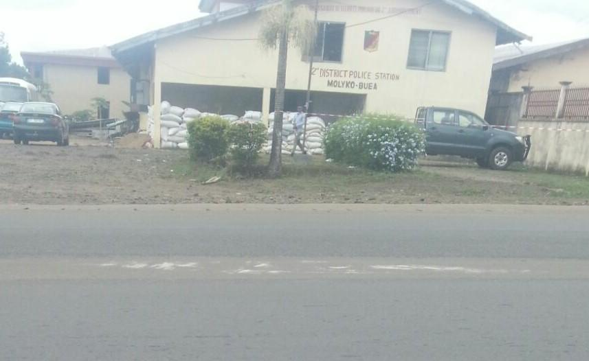 Police station in Molyko,Buea, partly surrounded by sandbags