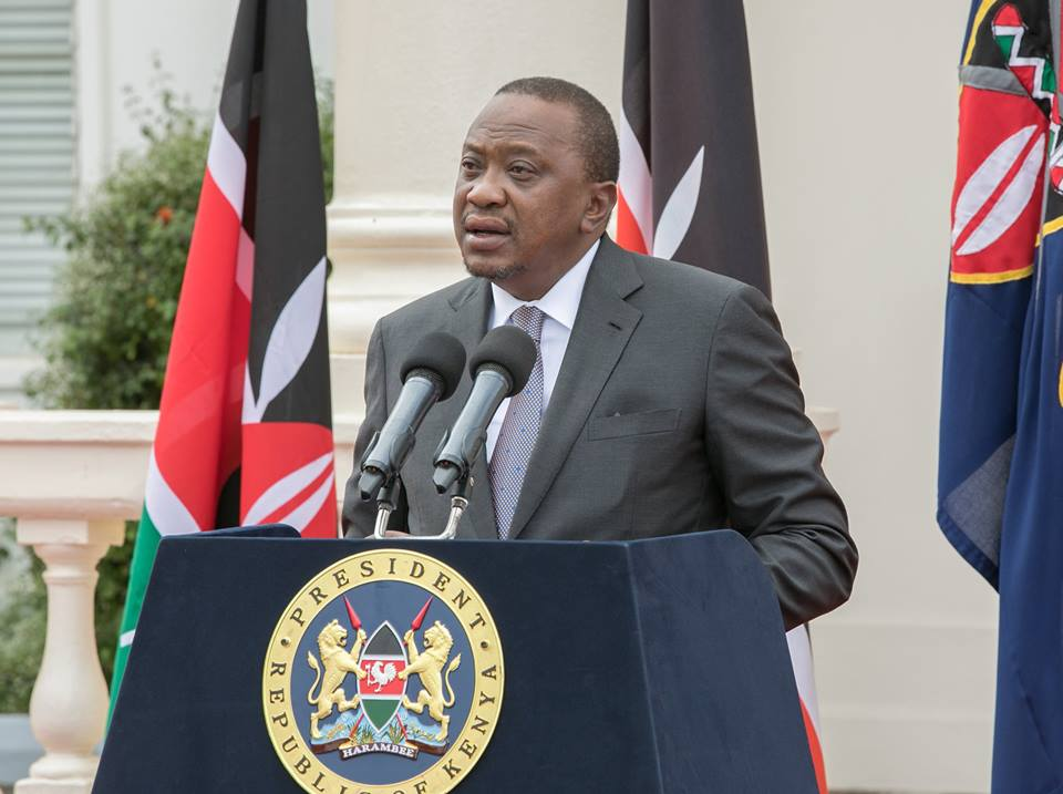President Uhuru Kenyatta during the unveiling of the first batch of his second term cabinet on Friday, January 5, 2018.PHOTO|PSCU
