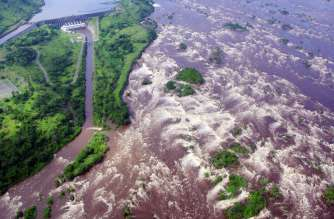 The Inga 1 dam and Inga Falls on the Congo river.  Photographer: Marc Jourdier/AFP via Getty Images
