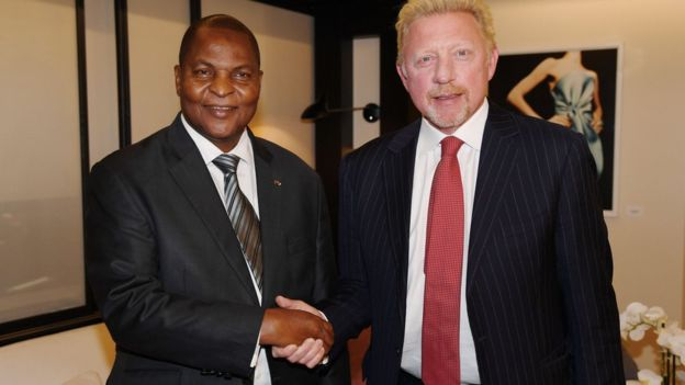 Boris Becker was pictured shaking hands with the president of CAR in April