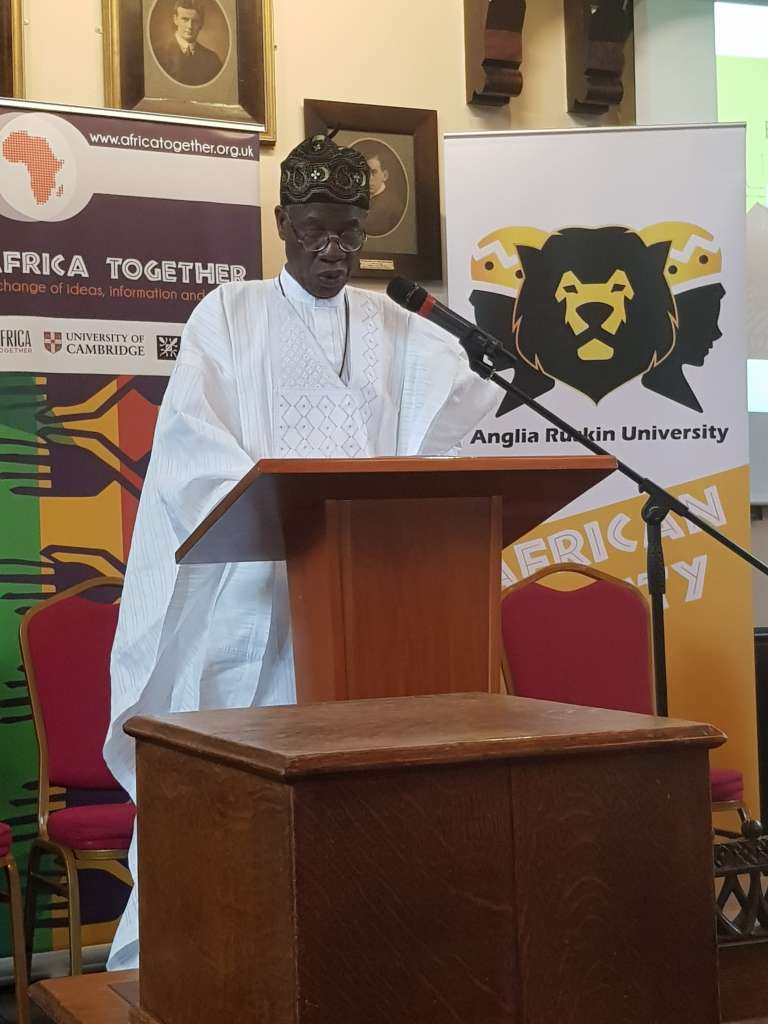 """Minister of Information and Culture, Alhaji Lai Mohammed, giving his keynote address at the 2018 """"Africa Together Conference'' at the University of Cambridge, UK."""