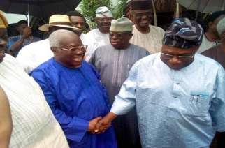 Caption: From right, Chief Abraham Akanle, Bode George and Obasanjo during the visit this morning