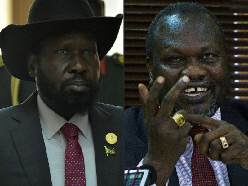 President Salva Kiir with then Vice President Riek Machar (Photo: file)