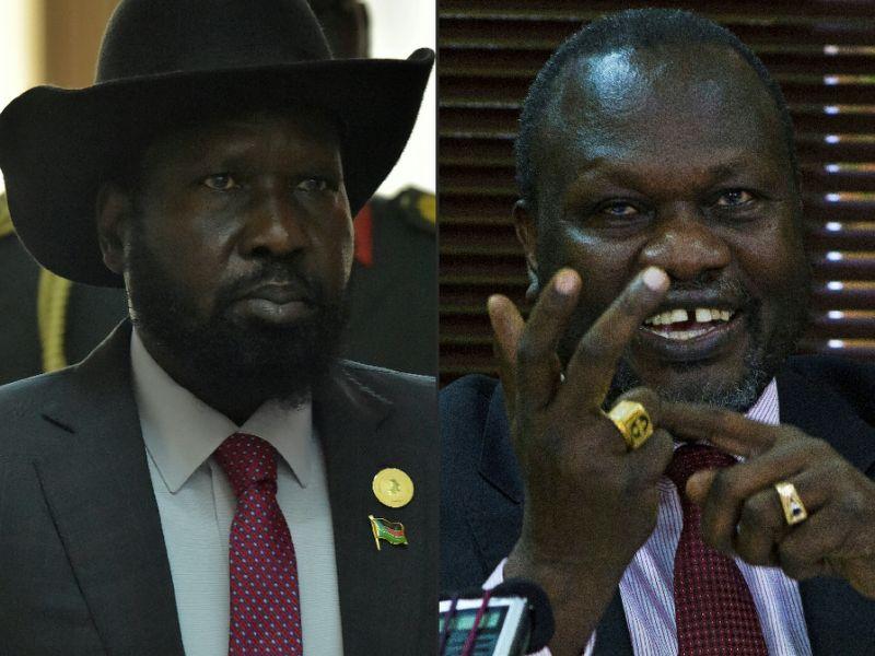 South Sudan's President Salva Kiir (l) and his former deputy Riek Machar sparked a bloody civil war in 2013 (AFP Photo/SIMON MAINA, ISAAC KASAMANI)
