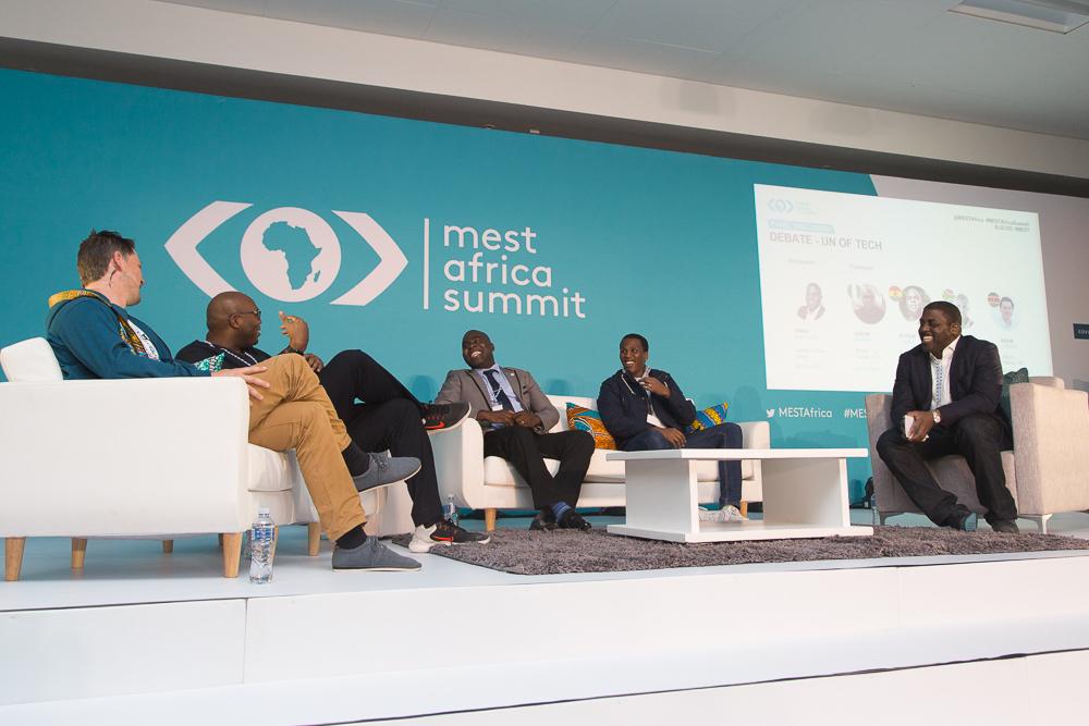 From L-R_ Kevin Lorenz (Africa's Talking, Kenya), Jason Njoku (Iroko Partners, Nigeria), Eyram Tawia (Leti Arts, Ghana), Lungisa Matshoba (Yoco, SA) and Moderator Yinka Adegoke (Quartz)