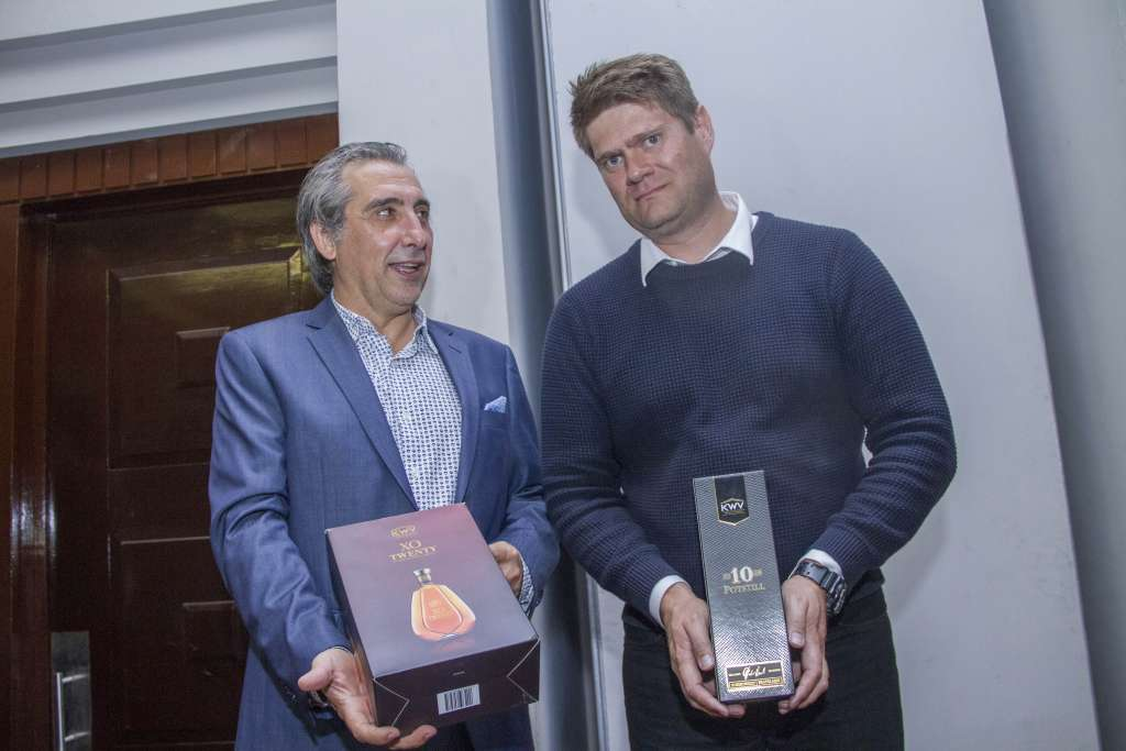 Stephan Rautenbach ,Regional Business Manager KWV (right) with Juan Jose Ribes of Mohan's Oysterbay Drinks Kenya Marketing and Sales Director during the launch of the KWV range of products in Kenya