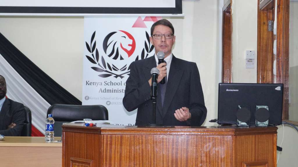 Jurgen Leske, the OECD program officer when he addressed the training conference at the Kenya School of Monitory Studies in Nairobi, Kenya.