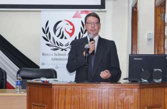 Jurgen Leske, the OECD program officer when he addressed the training conference at the Kenya School of Monitory Studies in Nairobi, Kenya.