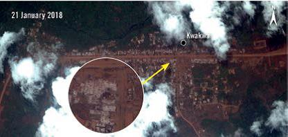 Imagery : High resolution imagery captured on 21 January 2018 shows Kwakwa has been almost completely razed. White ash blankets the areas where structures once stood. Again, cloud cover prevents full analysis of the area. ©Amnesty International.