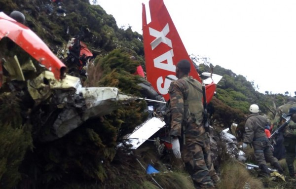 Remains of a FlySax plane which crashed with 10 people on board in Kenya. No one according to officials survived the crash. Photo: Twitter/CGTN Africa