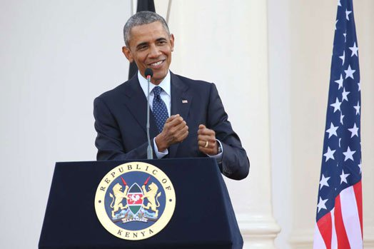 Then US President Barack Obama speaks during a press conference with his Kenyan counterpart at State House, Nairobi when he visited Kenya on July 25, 2015. FILE PHOTO