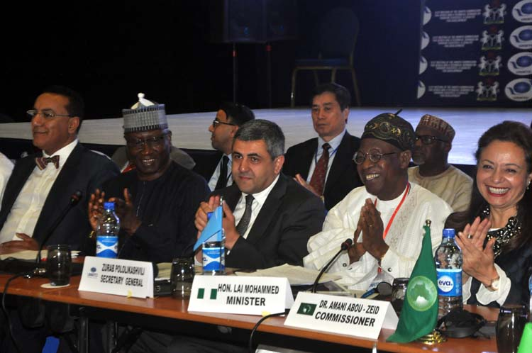 From left, Chairman Commission for Africa of the UNWTO, Mr. Najib Balala; Representative of Mr. President and Secretary to Government of the Federation, Mr. Boss Mustapha; Secretary-General of the UN World Tourism Organisation (UNWTO), Mr. Zurab Pololikashvili; Minister of Information and Culture, Alhaji Lai Mohammed and the African Union Commissioner for Infrastructure and Energy, Dr. Amani Abou-Zeid, at the Opening Ceremony of the 61st Meeting of the UNWTO Commission for Africa at the Transcorp Hilton, Abuja, on Monday