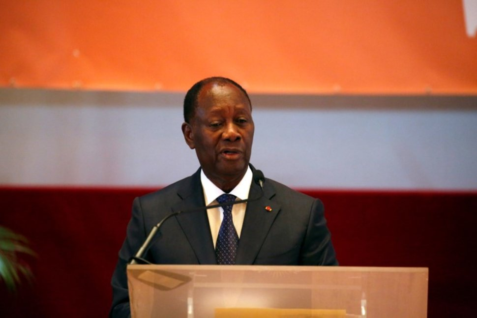 FILE PHOTO - Ivorian President, Alassane Ouattara, speaks during the opening ceremony of the Senate in Yamoussoukro, Ivory Coast April 12, 2018. REUTERS/Luc Gnago