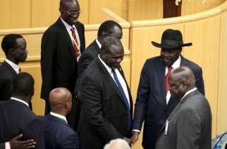 Salva Kiir and Riek Machar in Khartoum