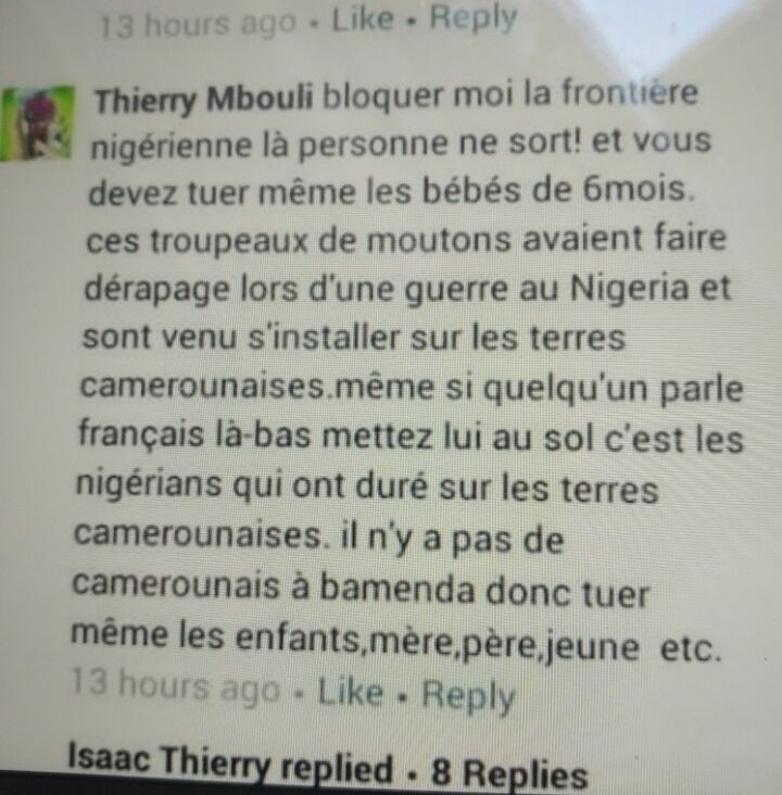 A Facebook post by a Francophone reads: block the borders with Nigeria so that no one leaves. Kill everyone including 6 months old babies. This horde of sheep fought Nigeria (referring to the Biafran War) and later established themselves on Cameroonian soil. Eliminate even those who speak French, they are Nigerians who have settled on Cameroonian soil. There aren't Cameroonians in Bamenda (an Anglophone town), so, kill also the children, mothers, fathers, young people, etc.