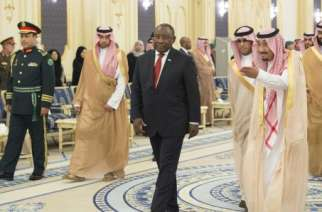 King of Saudi Arabia, Salman bin Abdulaziz Al Saud (second right) with South Africa's President Cyril Ramaphosa in Jeddah, Saudi Arabia, on June 12, 2018.Bandar Algaloud | Saudi Kingdom Council | Anadolu Agency | Getty Images