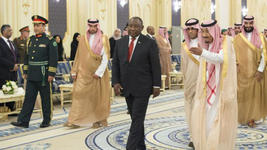 King of Saudi Arabia, Salman bin Abdulaziz Al Saud (second right) with South Africa's President Cyril Ramaphosa in Jeddah, Saudi Arabia, on June 12, 2018.Bandar Algaloud | Saudi Kingdom Council | Anadolu Agency | Getty Images