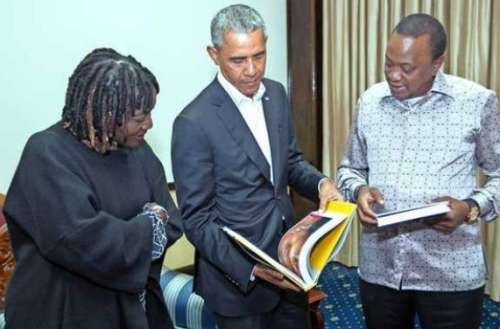 Photo: Daily Nation President Uhuru Kenyatta with the 44th US President Barack Obama when he paid him a courtesy call at State House, Nairobi on July 15, 2018. On the left is Mr Obama's half sister Dr Auma Obama.