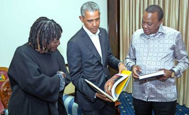 Photo: Daily Nation.President Uhuru Kenyatta with the 44th US President Barack Obama when he paid him a courtesy call at State House, Nairobi on July 15, 2018. On the left is Mr Obama's half sister Dr Auma Obama.