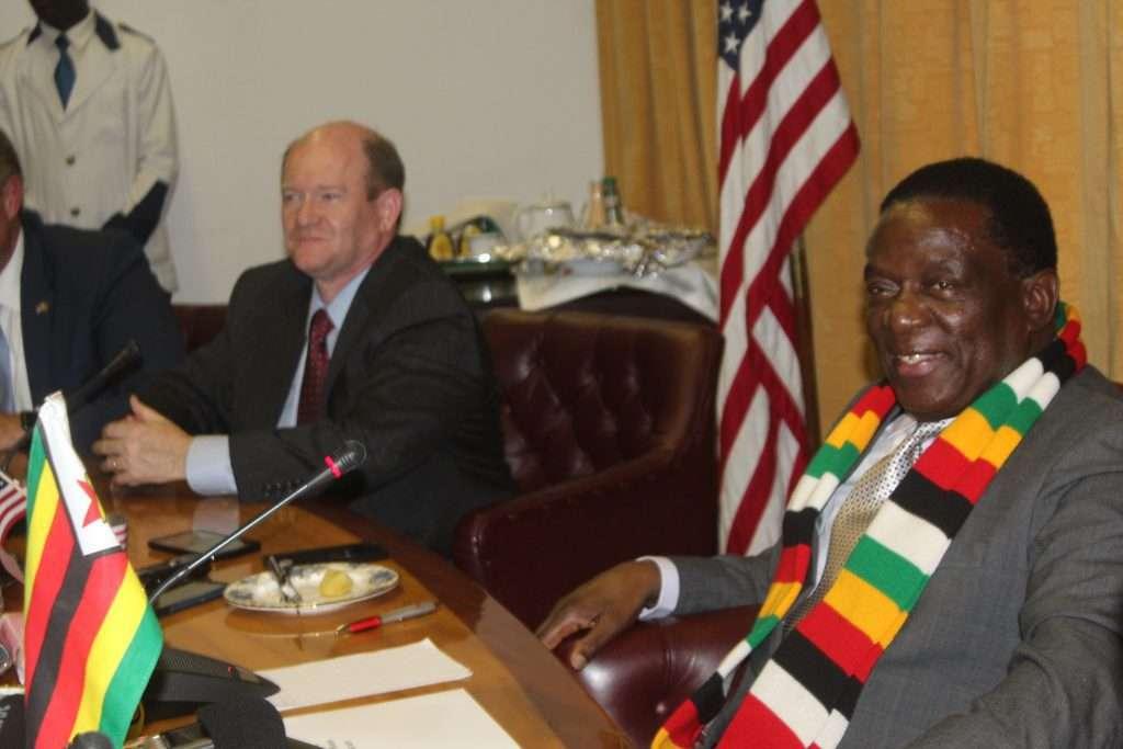 President Emmerson Mnangagwa  with Senator Christopher Coons