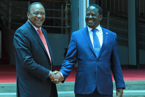 President Uhuru Kenyatta and Nasa leader Raila Odinga at Harambee House recently. PHOTO | JEFF ANGOTE | NATION MEDIA GROUP