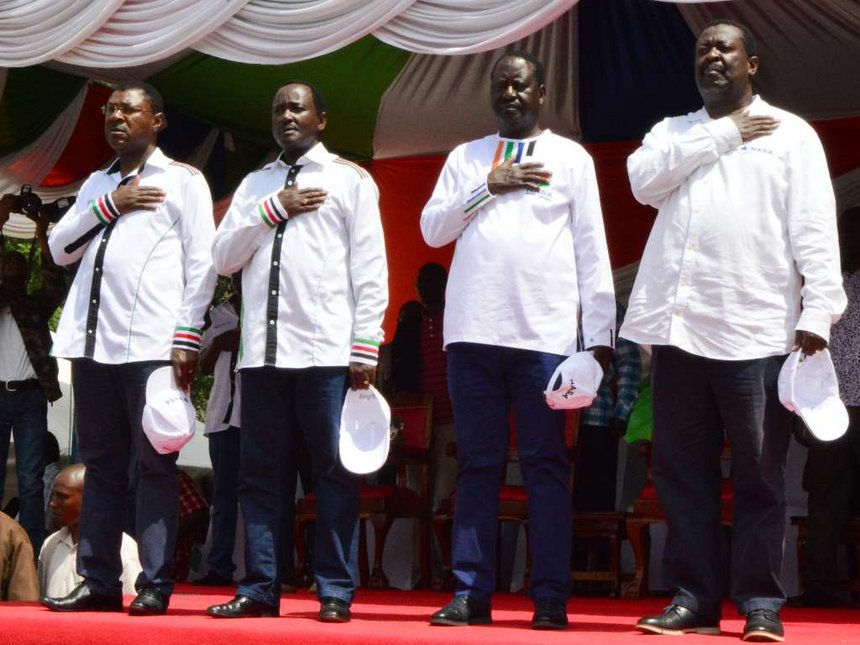 NASA Principals Moses Wetangula, Kalonzo Musyoka, Raila Odinga and Musalia Mudavadi at a rally in Kakamega on Saturday, June 3, 2017.Pic credit Star Kenya