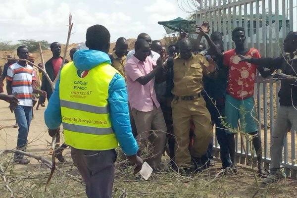 Turkana residents on June 29, 2018 broke into Ngamia 8 oil well demanding the government addresses their security complaints over cattle theft in the region. PHOTO   SAMMY LUTTA   NATION MEDIA GROUP