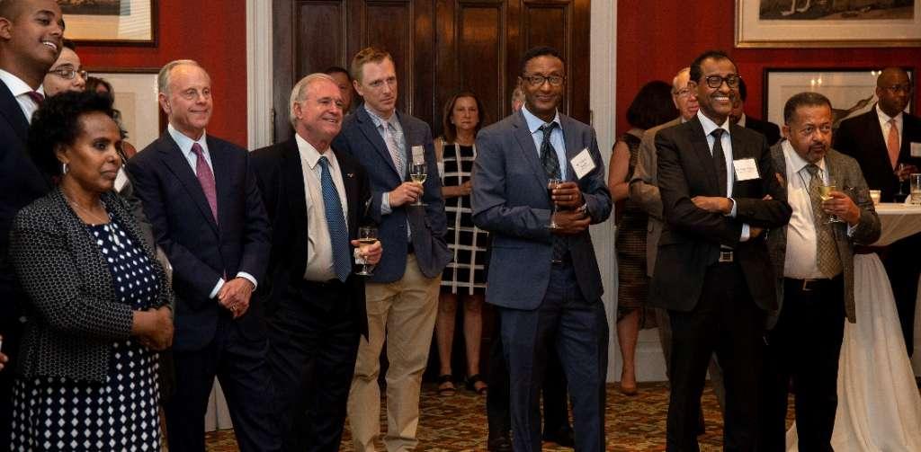 Mack McLarty, Dr. Mima Nedelcovych, Joseph Shields, Eskinder Joseph, and Kassy Kebede look on as Ambassador Kassa Tekleberhan addresses the crowd.