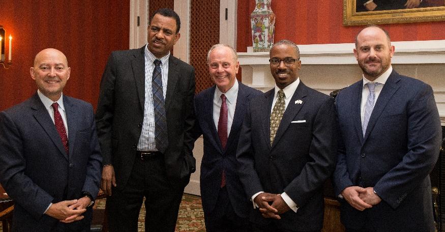 L to R: Admiral James Stavridis, Ambassador Kassa Tekleberhan, Mack McLarty, Ambassador Reuben Brigety, Eliot Pence.