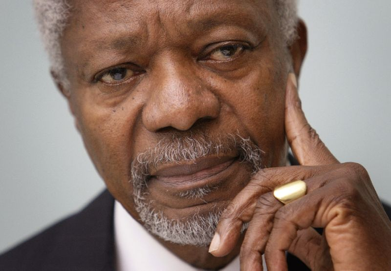 World leaders have expressed their sadness at the death of former United Nations Secretary General and Nobel Peace Prize laureate Kofi Annan (AFP Photo/Fabrice COFFRINI)