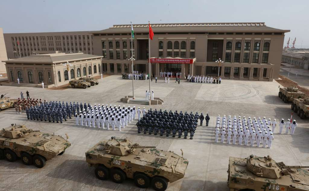 People's Liberation Army personnel attending the opening ceremony of China's new military base in Djibouti. (STR/AFP/Getty Images)