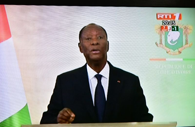 A screen shot showing resident Alassane Ouattara addressing the nation on Monday (AFP Photo/ISSOUF SANOGO)