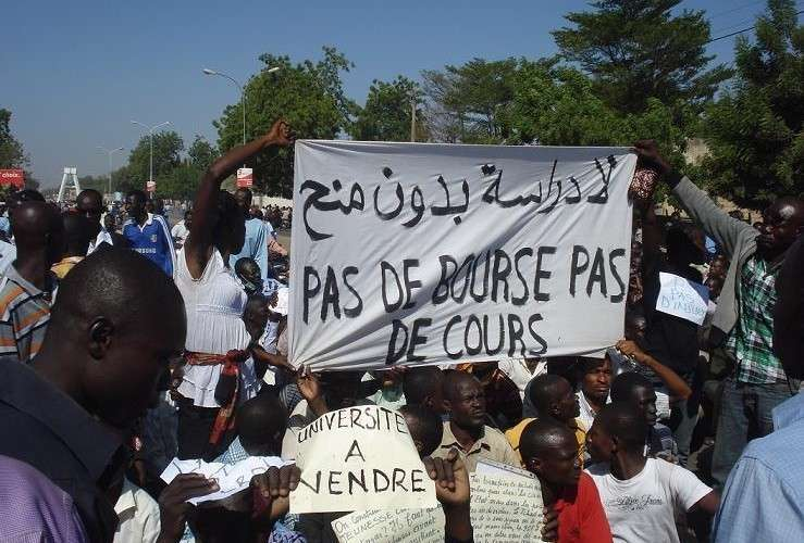 Students protesting in Chad